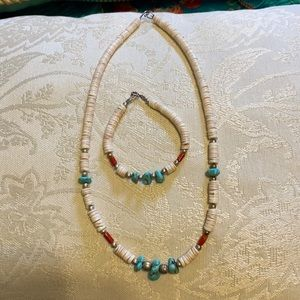 Beaded turquoise necklace with matching bracelet